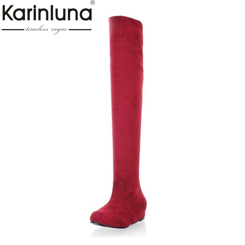 dimensioni karinluna Big 34-47 modo delle donne sopra il ginocchio stivali Hidden incunea pattini di vestito casuale punta rotonda della piattaforma Cavaliere Stivali
