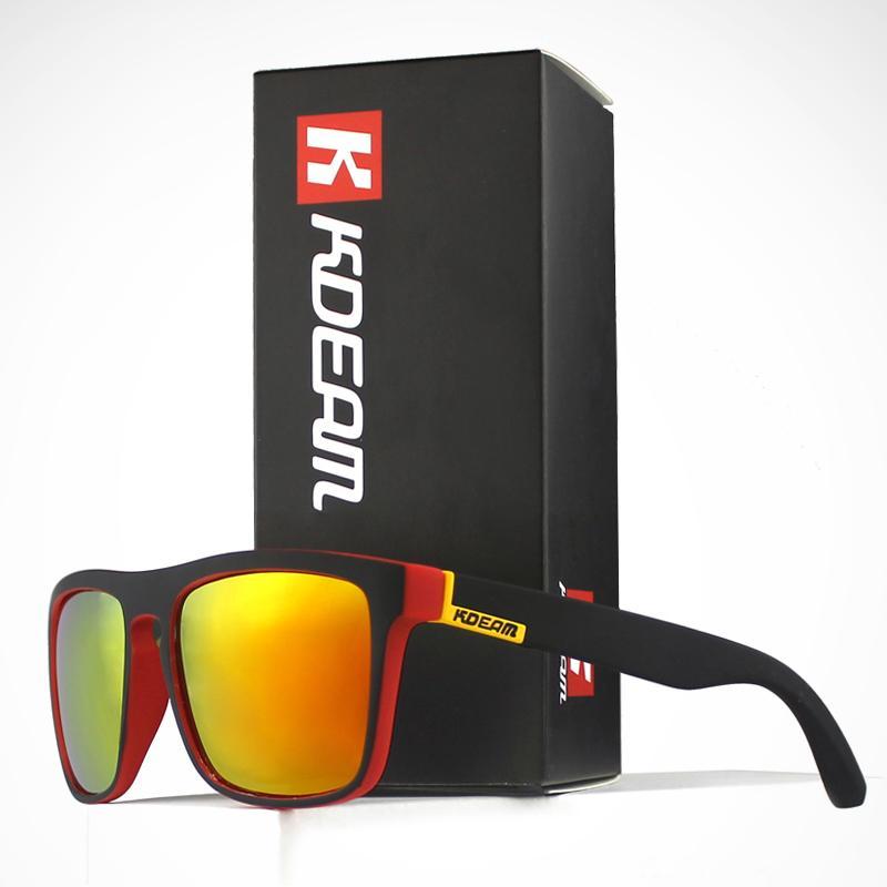 Moda Okulary przeciwsłoneczne Faceta z KDeam Polaryzowane okulary Mężczyźni Klasyczny Design All -fit Lustro Sunglass Z Marka Box CE