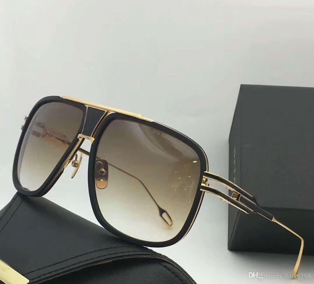 Erkekler Vintage Altın / Kahverengi Gölgeli Güneş gafas de kutu ile sol Erkekler Pilot Sunglasses tonları Gözlük Yeni