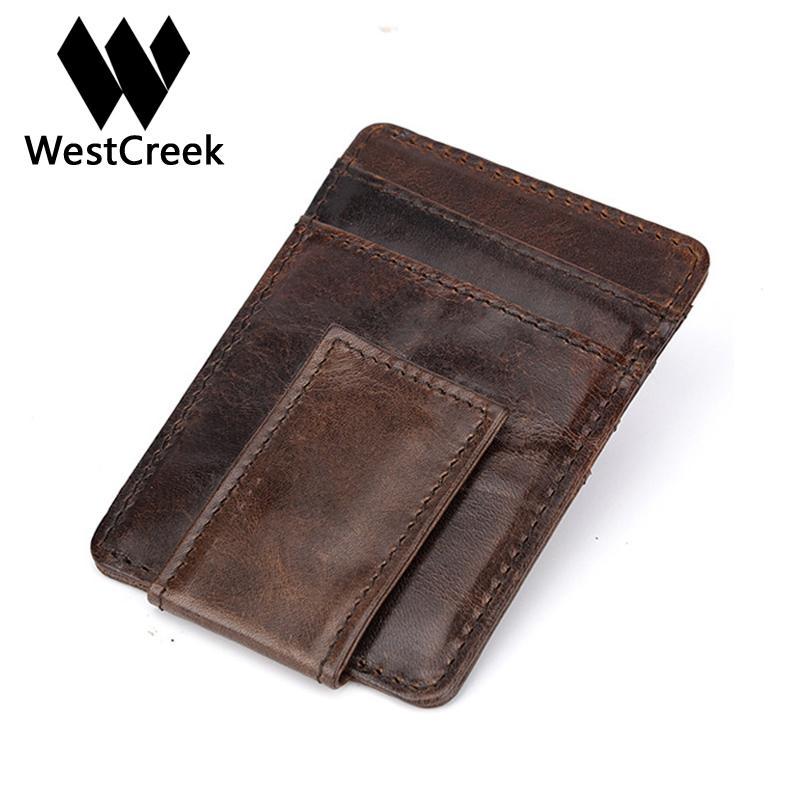 Westcreek enuine Leather Men Vintage Money Clip Front Pocket Clamp For Money Magnet Magic Thin Travel Wallets Card Case