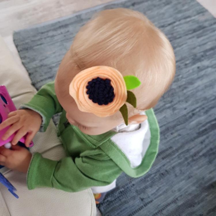부티크 40PCS / 8C 패션 귀여운 펠트 해바라기 나일론 머리띠 솔리드 가와이이 꽃 슈퍼 소프트 머리띠 공주 헤어 액세서리