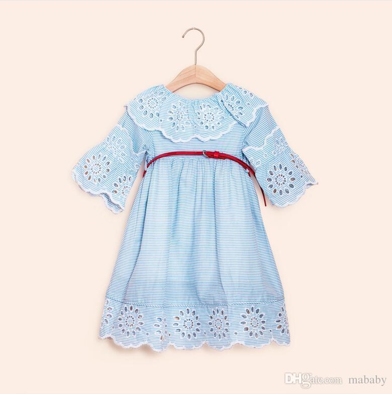 Desgaste de los niños 2018 falda de los niños niñas coreanas de verano vestido de algodón de loto de encaje vestido de los niños grandes envío gratis