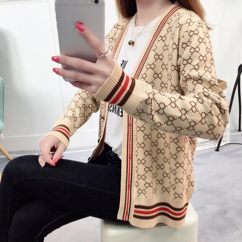 체크 무늬 니트 카디 건 여성 스웨터 패치 워크 단추 긴 소매 슬림 여성 스웨터 2018 가을 Outwear 의류 여성 XXL