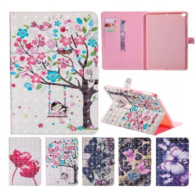 Portatarjetas de la carpeta del patrón de mariposa de la flor 3D PU del soporte elegante de cuero para el nuevo iPad Mini 234 5 6 123 4 T280 T350 T385 T550 T580