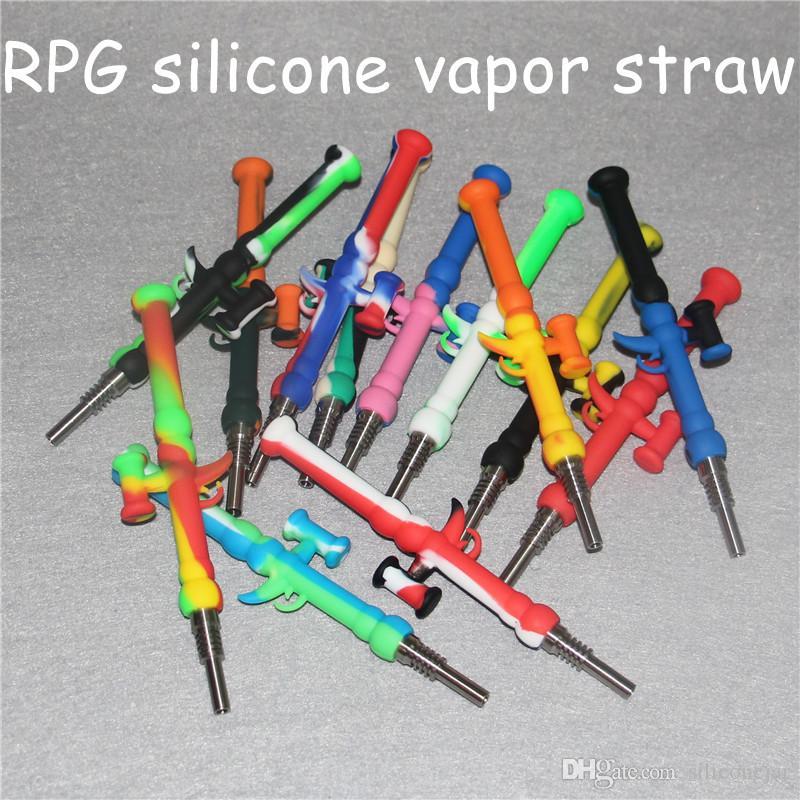 Mini 10mm silicone néctar kits de coletor de fumar com titânio ponta de aço inoxidável NC cachorro de cachimbo de cachorro dhl