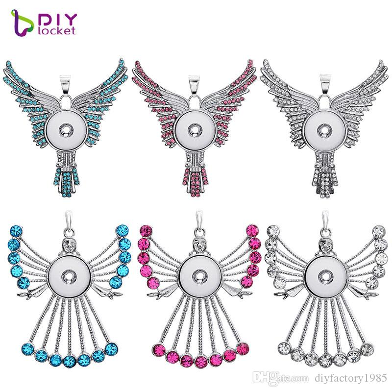 Angel Snap Button Pendant With Rhinestones For Women LSNP118/120