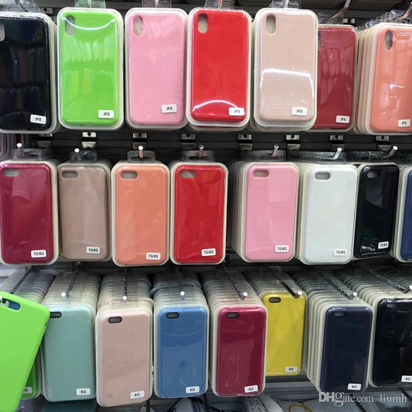 Оригинальный Официальный Жидкий Твердый Силиконовый Гель Резиновый Противоударный Чехол для Телефона Для Apple iPhone XS Max XR X 8 Plus 7 6 6 S С Розничной Коробке