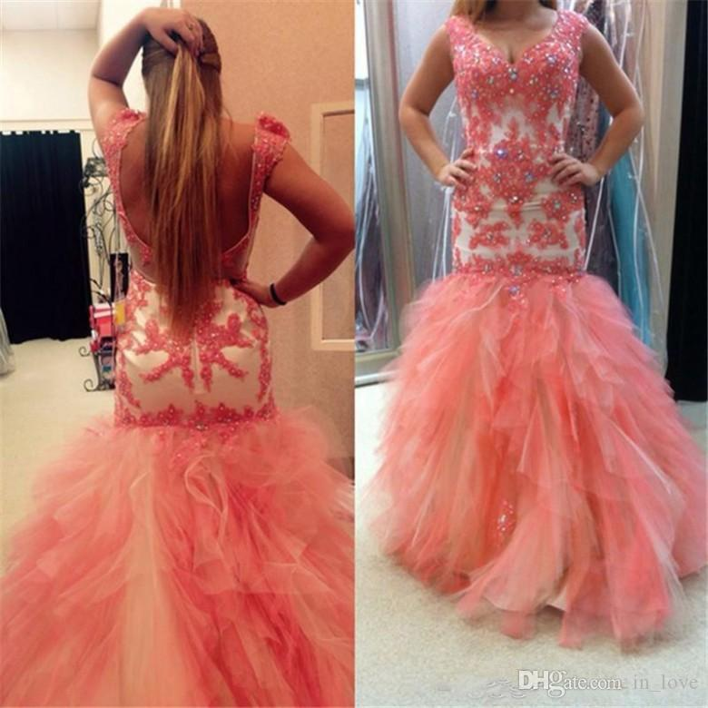 Mermaid Multi colored Prom Dress Backless Cap Sleeves Beads Handmade Appliques Lace Ruffles Tulle Party Gowns Custom Size