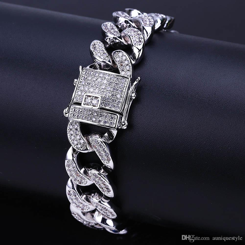 """Cuban Link Bracelet Men Zircon Curb Hip Hop Jewelry Gold Silver Thick Heavy Copper Iced Out CZ Chain Bracelets 8"""" Miami Fashion Jewelry"""