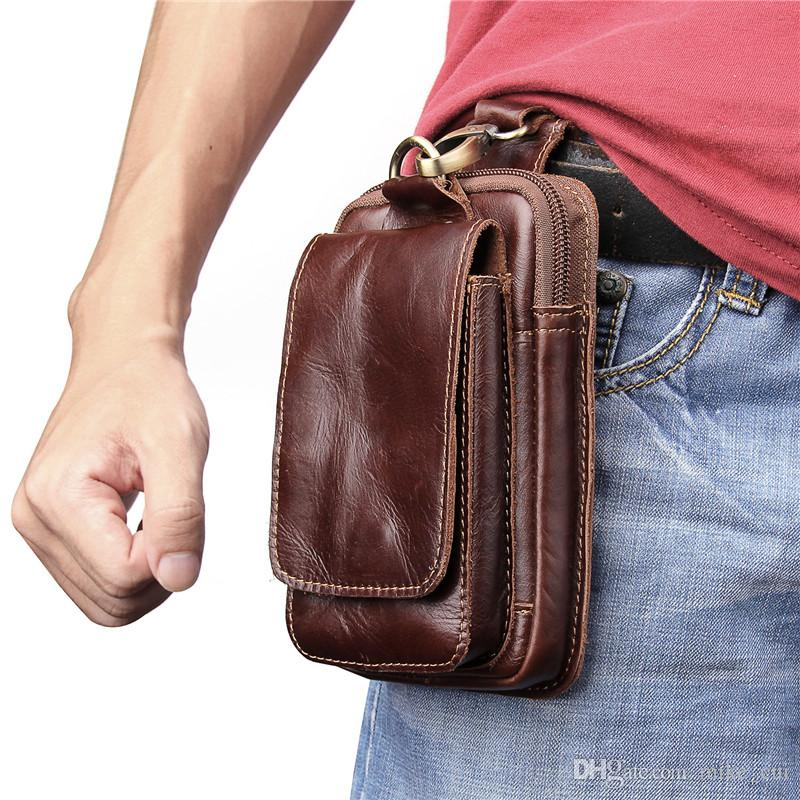 Brand 2018 Universal Fashion Casual Men's Genuine Leather Waist Packs Fanny Pack Belt Bags Phone Pouch Travel Bags Male