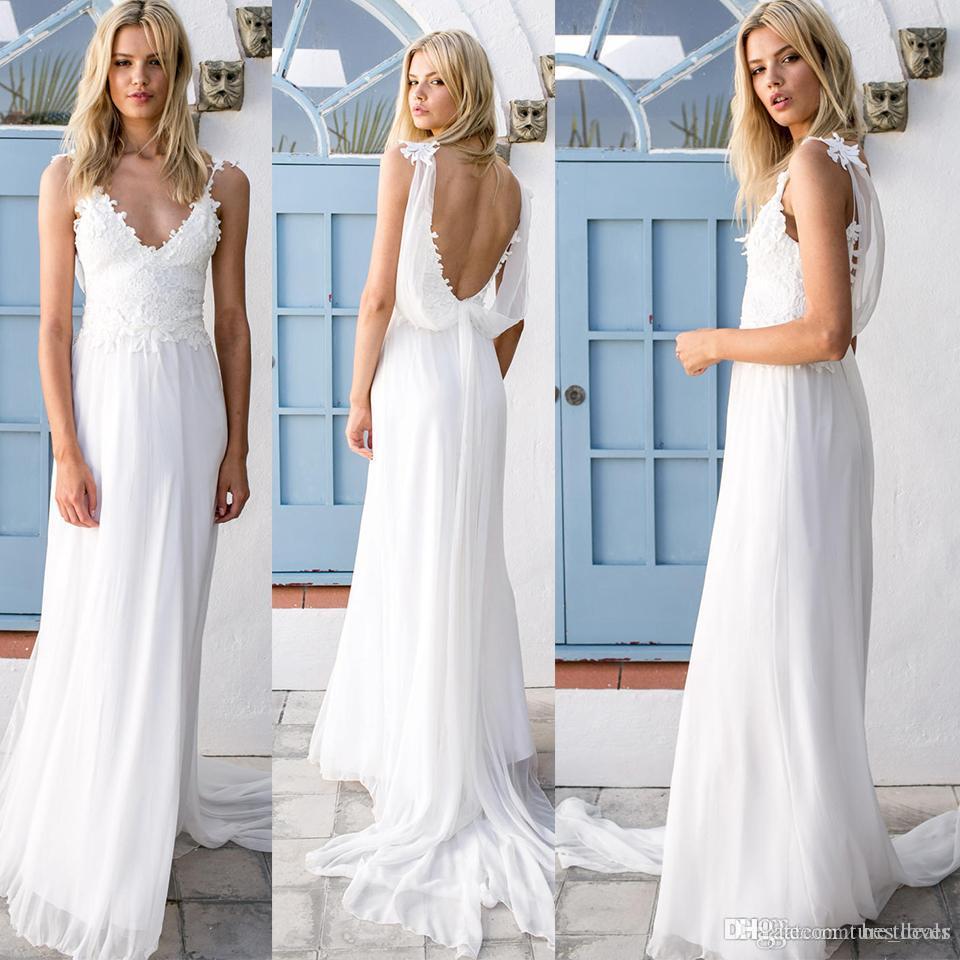 Vestidos de novia de encaje vintage Bohemio sexy 2018 Gasa de encaje sin respaldo Una línea de vestidos de novia de playa Vestidos de boda vintage Boho
