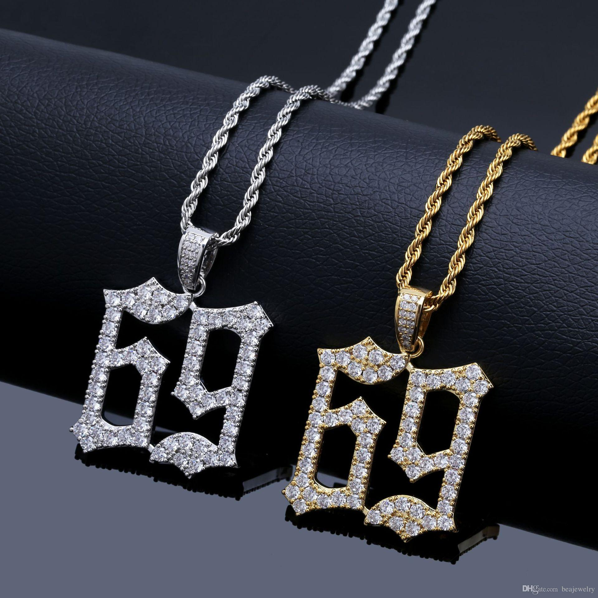 Nuovi Prodotti d946b 8b997 Acquista Collana Hip Hop Fashion 69 Saw Collana In Oro Zircone Cubico A  $11.75 Dal Beajewelry | DHgate.Com