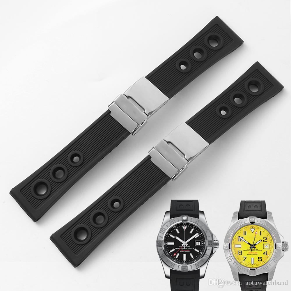 22mm 24mm nouveau noir imperméable plongée sous-marine en caoutchouc de silicone bracelets de montre Fold boucle pour montre Breitling + Outils