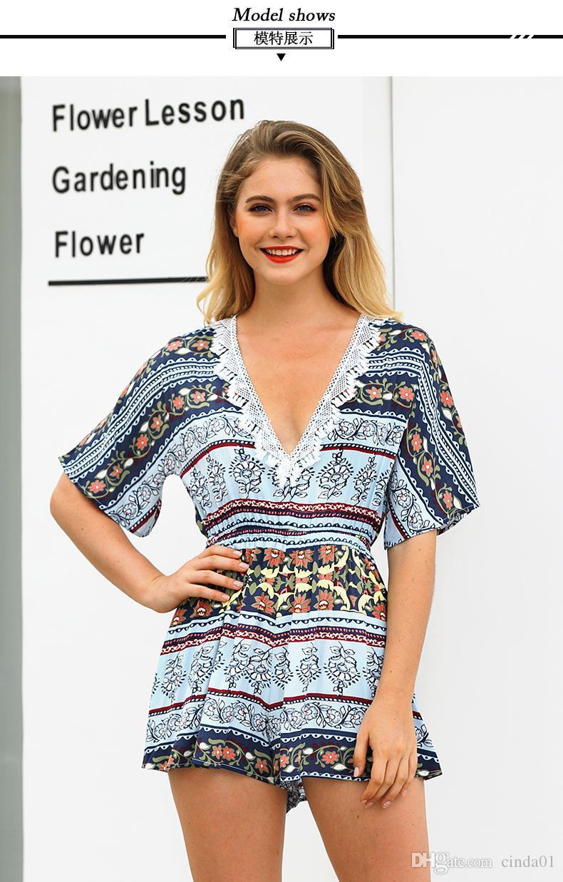 Mulheres Verão Casual V Neck Floral Impresso Manga Curta Jumpers Curtos e Rompers Vestidos Falsos Terno Do Clube