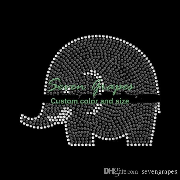 Elephant Iron On Rhinestone Transfers Hot Fix Motif Hotfix Applique 20pcs