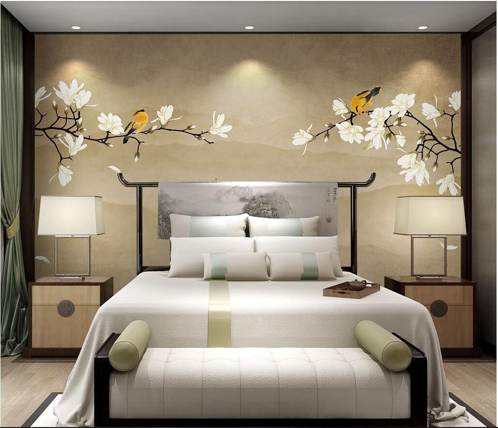 3d room wallpaper custom photo no tejido mural New Chinese Magnolia Flower pintado a mano flores y pájaros wal wallpaper para paredes 3 d