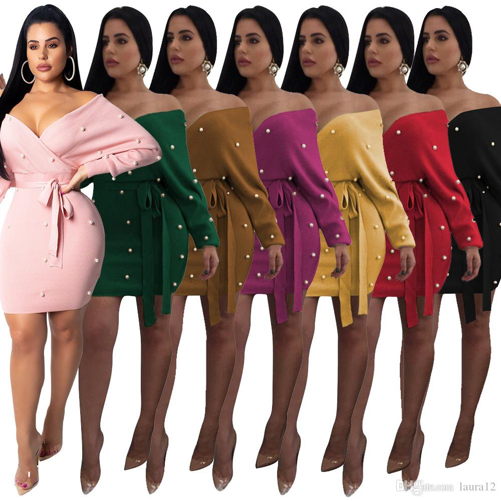 Autumn Newest Trendy Pearls V Neck Long Sleeves Backless Sheath Party Dresses with Sash 2018 7 Colors Sexy Short Dress for Night Out Club