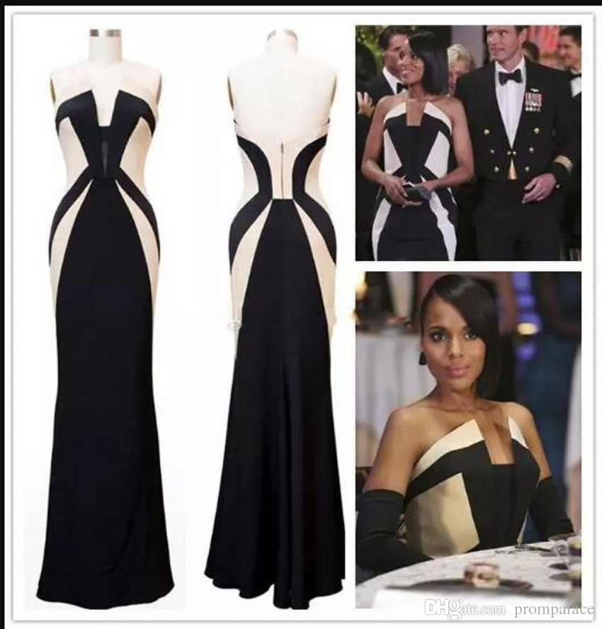 For Ladies Celebrity Evening Dresses Black And White Women Formal Dresses Red Carpet Kerry Washington Scandal Prom Dresses
