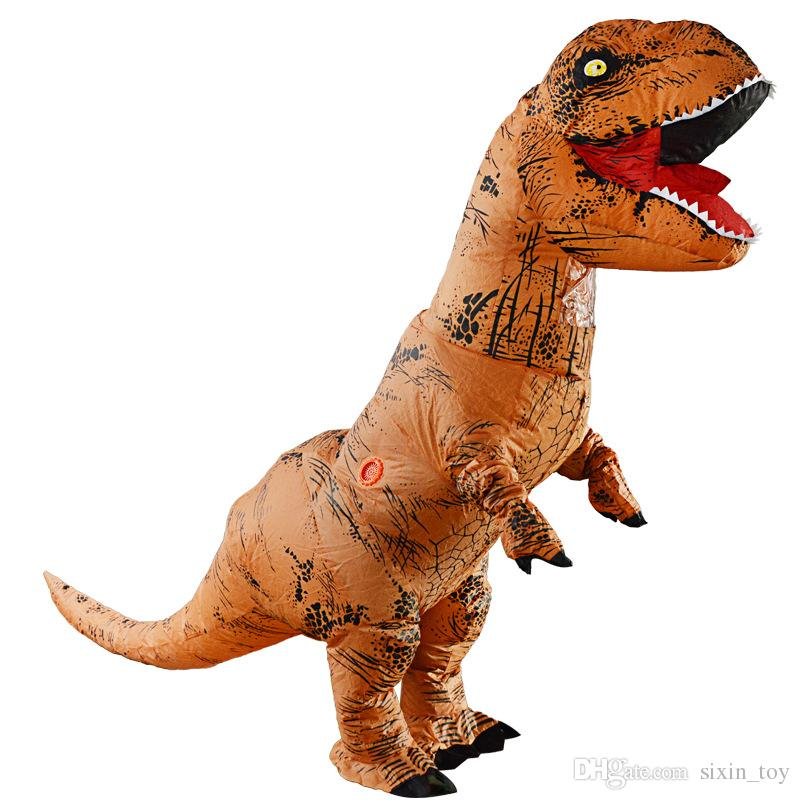 Halloween And Christmas.2019 Cool Halloween And Christmas Adult Dinosaur T Rex Costume Jurassic World Park Blowup Dinosaur Inflatable Costume Party Mascot Costume Toy From