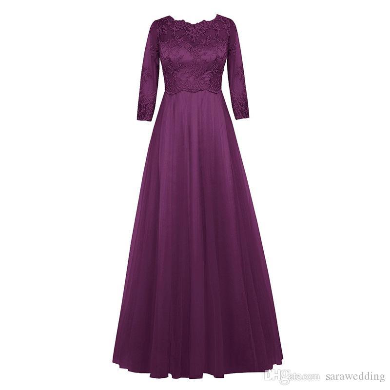 Half Sleeves Lace Chiffon Brautjungfernkleider 2019 Burgundy Purple Royal Blue Lange Party Kleider Neue Trauzeugin Kleider