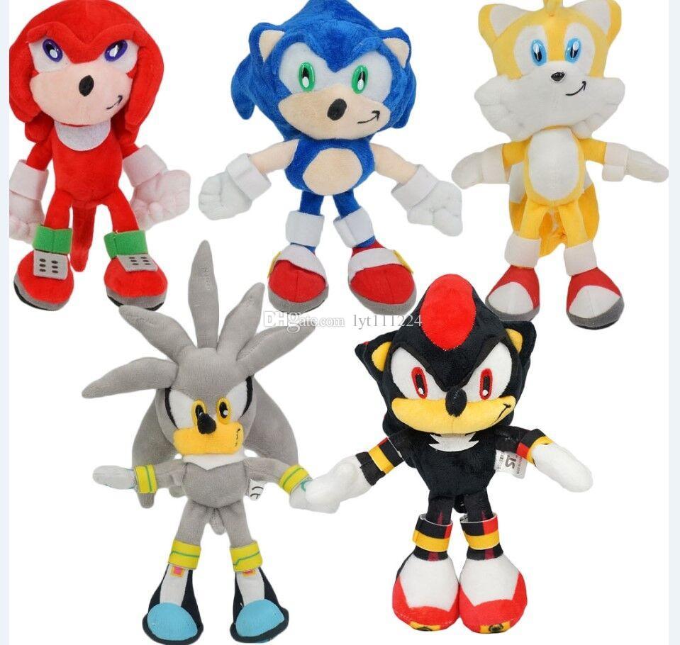 5pcs/6pcs set 25cm New Arrival Sonic The Hedgehog SEGA Sonic Stuffed Plush Soft Doll Toy gift Free Shipping