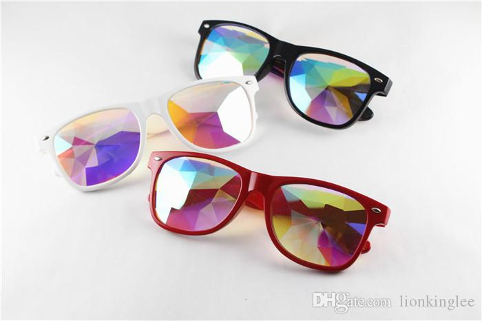 WOMEN Fashion Geometric Kaleidoscope Glasses Rainbow Rave Lens Bling Bling Prism Crystal Eyewear Party Diffraction Sunglasses