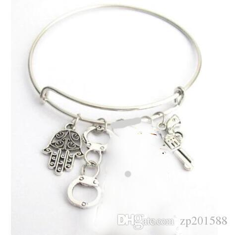 Vintage Silver Hamsa Hand Handcuffs Gun Charms Expandable Wire Bracelet Punk Wedding Cuff Bangles For Women Jewelry Fashion Accessories NEW