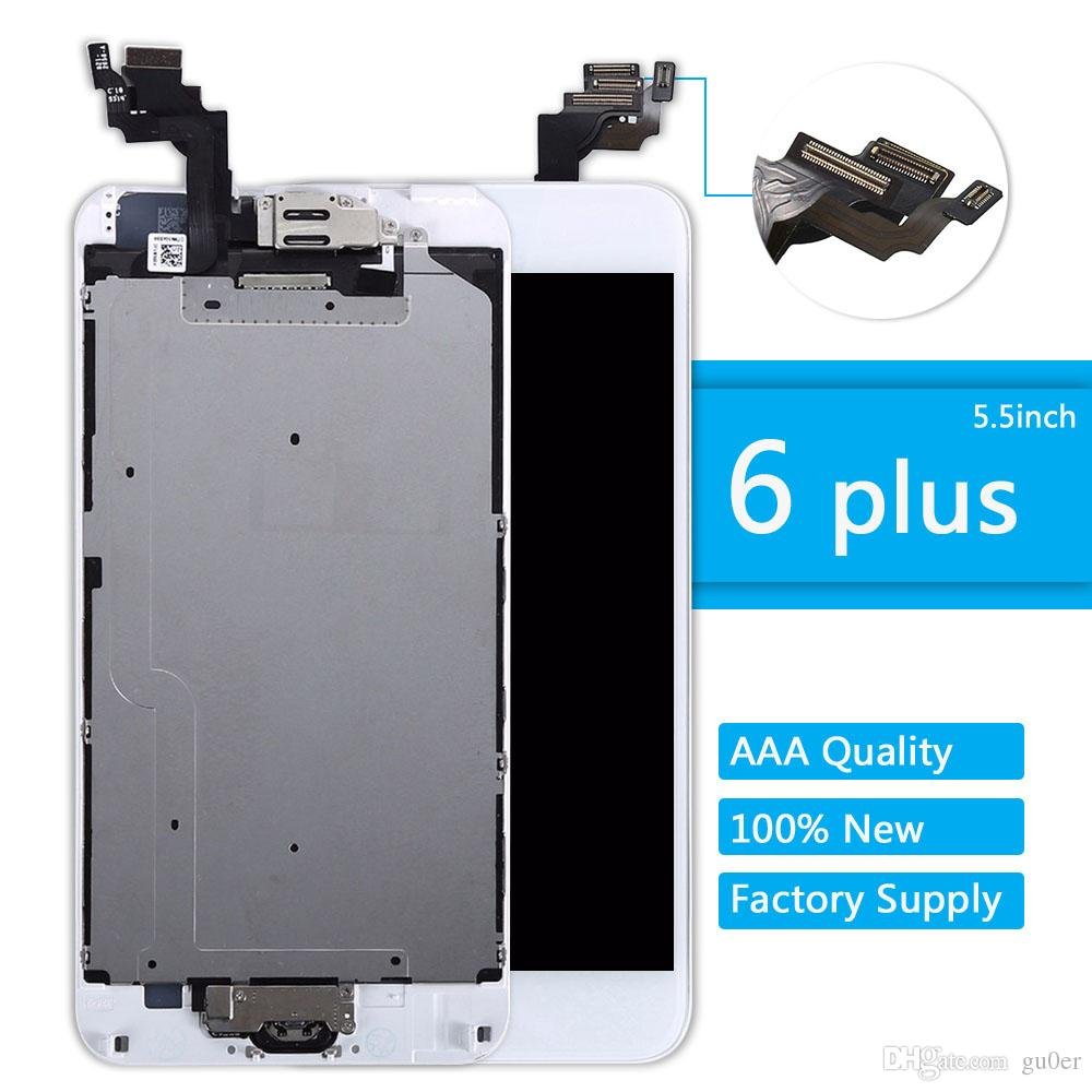 LCD per iPhone 6 Plus Display Tasto Home + Fotocamera frontale Touch Screen Digitizer Assembly 6plus Set completo Schermo sostitutivo