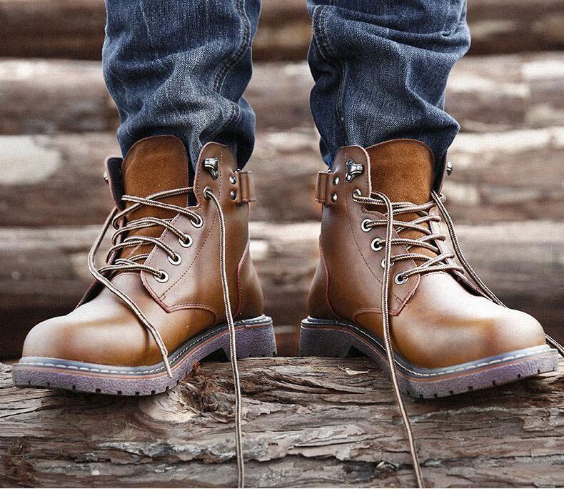 2018 automne nouveau tube Martin hommes européens et américains bottes occasionnels hommes chaussures en cuir de la mode des bottes d'outillage
