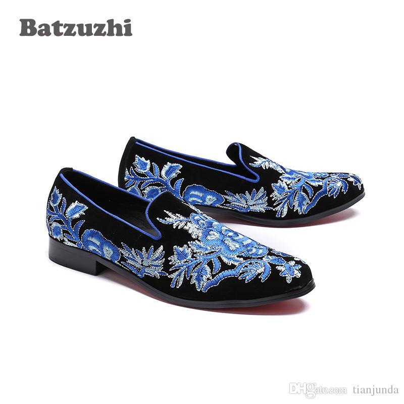 Mocassini Scarpe basse per uomo Scarpe basse uomo Scarpe basse Scarpe casual in pelle Camoscio nero con fiori blu Uomo Mocassini Big EU38-46