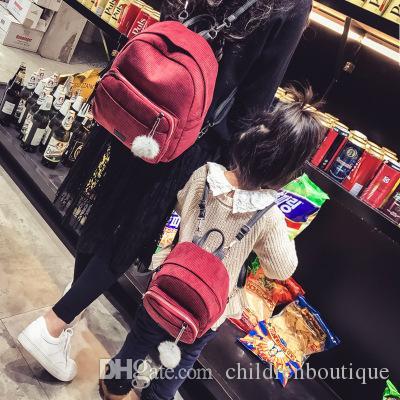 2018 Borse per corrispondenza madre e figlia Zaino in velluto a strisce carino Zaino coreano con palline di moda Borsa Dimensioni gratuite per ragazze 4 colori