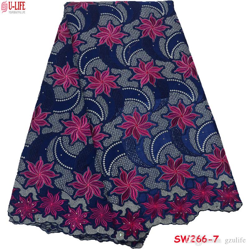 ulifelace cotton Fabric 2018 High Quality Embroidered Trim stones cotton Lace Fabric Eyelet African Fabric Lace For Women SW-266