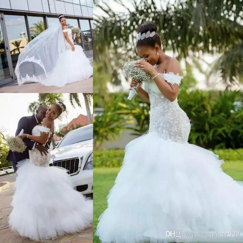 Очаровательная кружева с плеча Русалка Свадебные платья Аппликация Puffy Африканских Arabia платья Плюс Размер Свадебные платья невесты платье