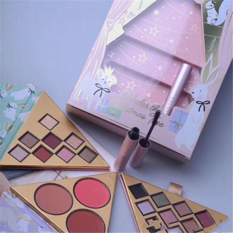 Jeu de maquillage 2018 Face à l'arbre de Noël contient deux palette de fards à paupières et un blush mieux que le sexe Mascara 4in1 Cadeaux Cosmetics DHL