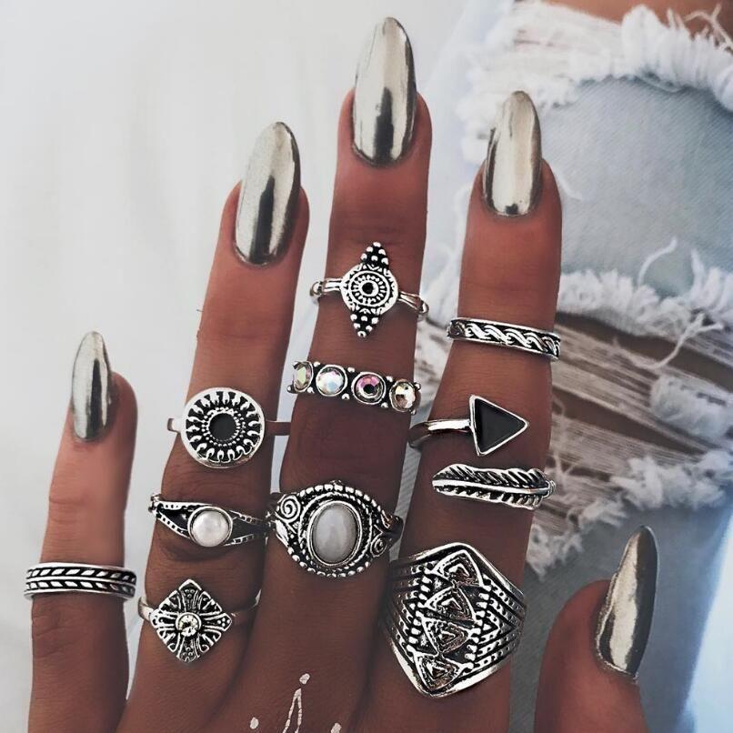 10Set Vintage Knuckle Ring Set For Women Fashion Anel Aneis Bague Stone Silver Midi Finger Rings Boho Jewelry 10pcs /Set Christmas Gift