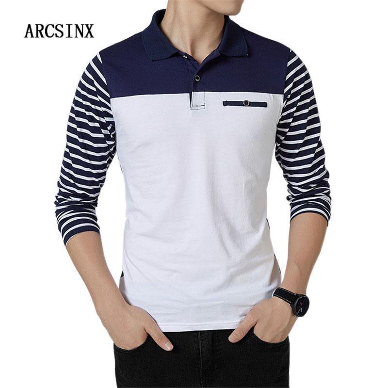 Großhandel Langarm Polo-Shirt Männer Plus Größe 5XL 4XL 3XL Mode Slim Fit Polo Männer Poloshirt Gestreiften Baumwolle Polos Männer Große Größe