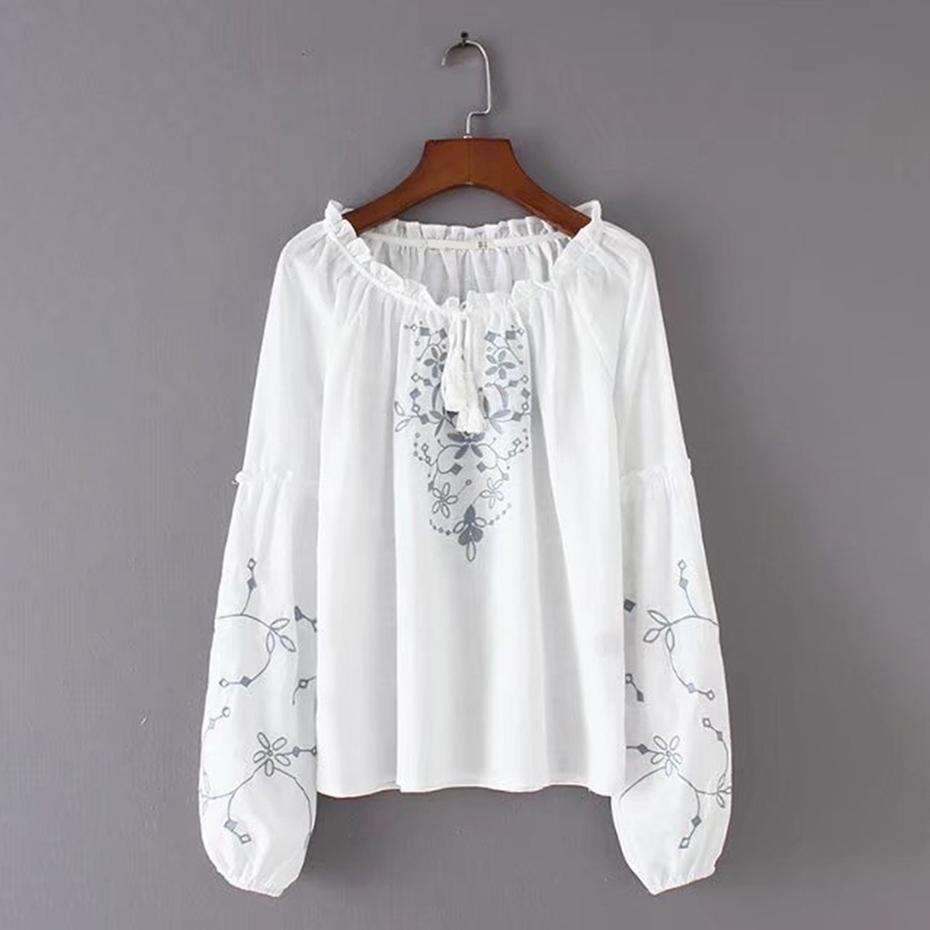 1e0e1f2888f3a9 2019 Queenus White Blouse Girls O Neck Fashion Long Sleeve Embroidery  Tassel Blouse Patchwork Autumn Floral Bohemian Blouses Women From Edward03,  ...