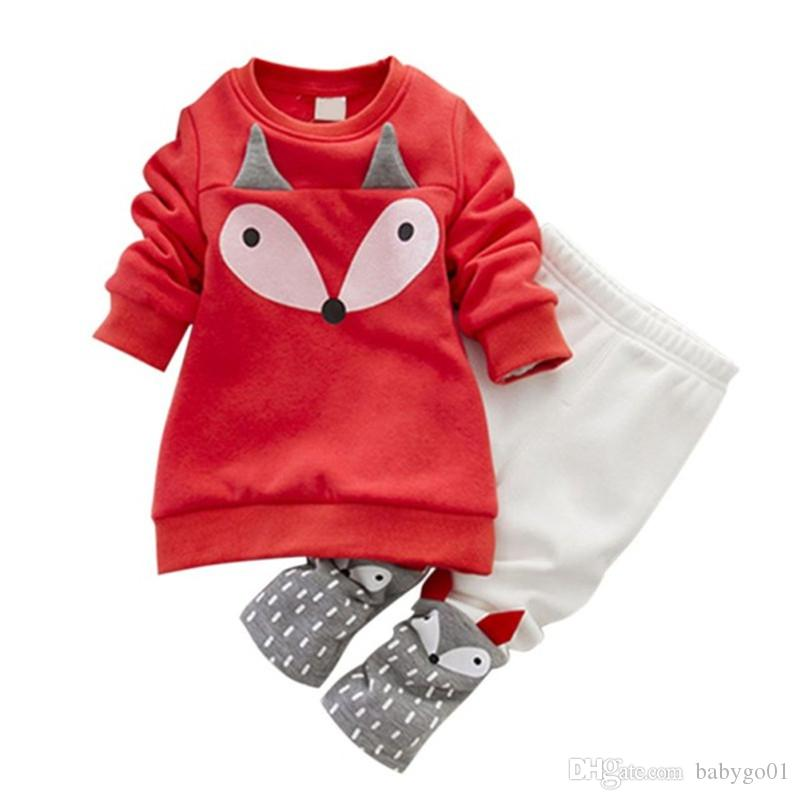 2018 الخريف الشتاء الطفل بنات طقم ملابس الكرتون جميل ملابس 2 قطع سميكة طويلة الأكمام الثعلب قمم + السراويل 2 قطع مجموعة