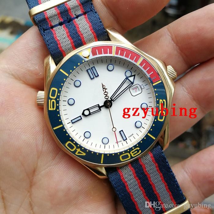 Melhor Comandante Qualidade Relógios de pulso Ceramic Bezel 007 Movimento automático inoxidável lona Strap Esporte Men Mens Watch Relógios
