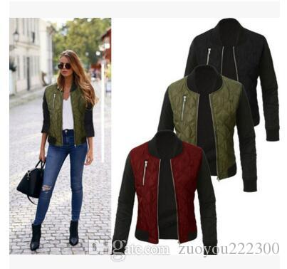 2018 Europa, outono e inverno, nova moda zipper cor pura, jaqueta de algodão, jaqueta, revestimento das mulheres, venda direta da fábrica.