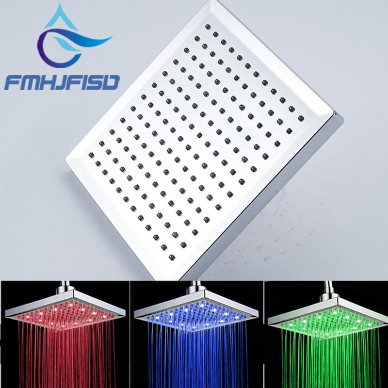 """Ceiling Mounted LED Shower Head Chrome Finish 8"""" Square Rainfall Shower Head Top Over-head Sprayer"""