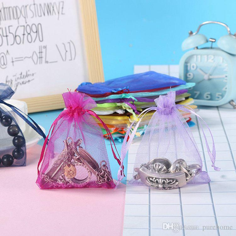 7*9CM Plain Organza Gift Bag Mini Wedding Candy Bag Transparent Jewelry Drawstring Pouch Cosmetic Sample Beads Pocket Storage Package