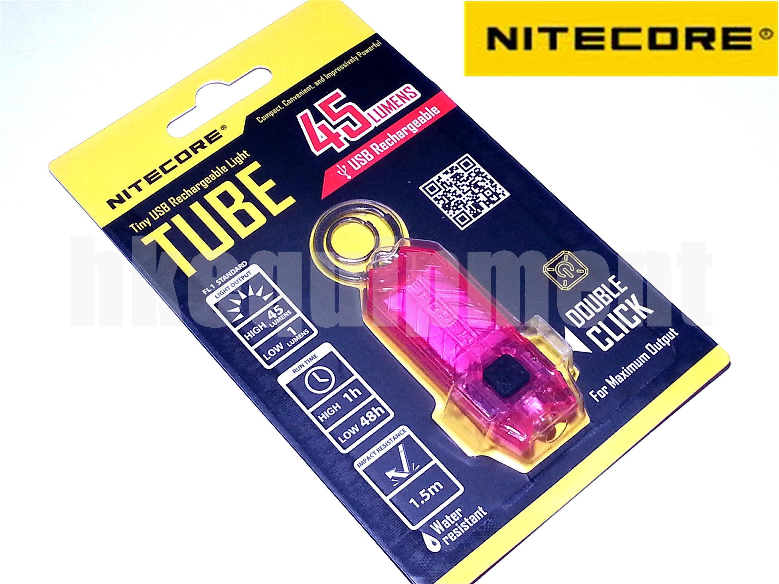 2 x NiteCore LED TUBE USB Rechargeable Keychain EDC Flashlight Torch Blue /& Pink