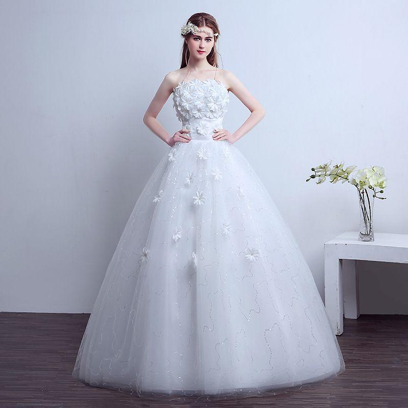 Compre Envío Gratis Vestidos De Novia Flores Foto Real Vestido De Novia Strapless Barato Princesa Blanca Vestidos De Novia Vestidos De Bola A 4579