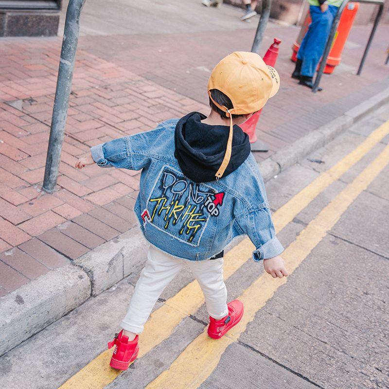 Primavera Ragazzi Giacca di jeans 2018 nuovo ricamato camicia ragazzi Coreano Moda Casual Giacca cardigan
