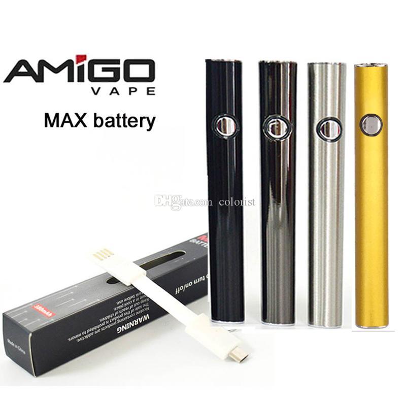 Venta al por menor 2 unids Amigo Vape batería Máx Vape Pen Baterías 510 Hilo Vape Batería 380mAh Voltaje variable 510 Baterías para cartuchos de aceite grueso
