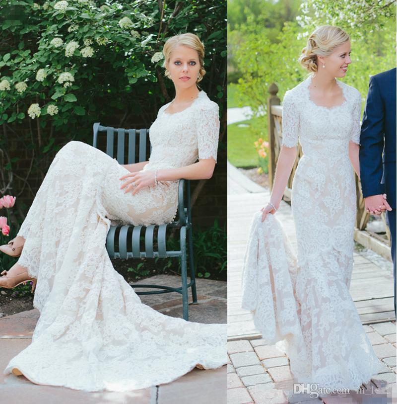 Modelos Vestidos De Noiva Modest Design Lace Vestido De Noiva Meia Manga Scoop Pescoço Longo Sereia Romântico Jardim Do Casamento Vestidos De Noiva