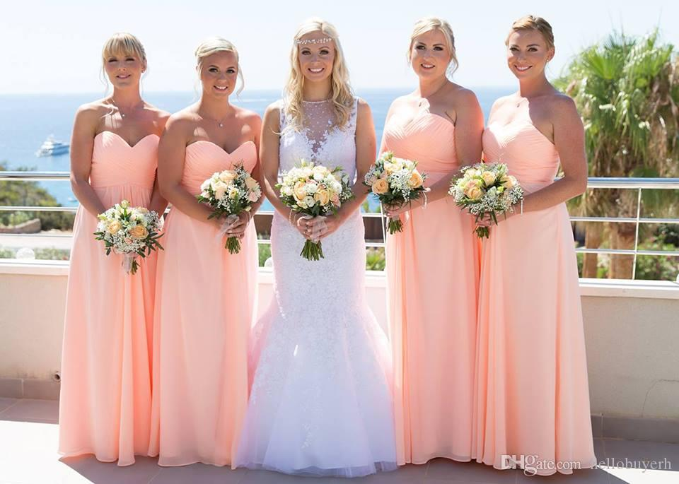 Plus Size A Line Sweetheart Blush Pink Bridesmaid Dresses Cheap Chiffon Formal Dresses