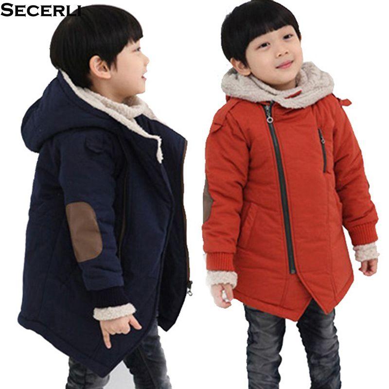 2018 Дети Мальчик Зимнее пальто с длинным рукавом с капюшоном Дети Мальчик куртки ветровки 3 6 8 10 12years заплатки Мода Подростковые Детская одежда