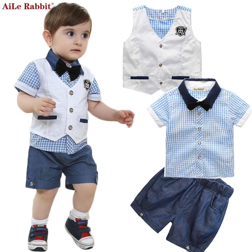 Garçons Vêtements Pour Bébé Costume Gentleman Costumes Gilet T-shirt Court 3 pièces Plaid Bow Shorts D'été Set Kids Fashion